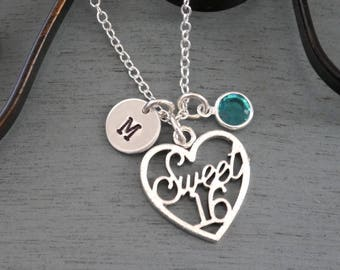 Sweet 16 Necklace, Personalized Sweet 16 Necklace, Sweet Sixteen Heart Necklace, Initial Necklace, 16 Birthday Jewelry Gifts, Silver, Custom