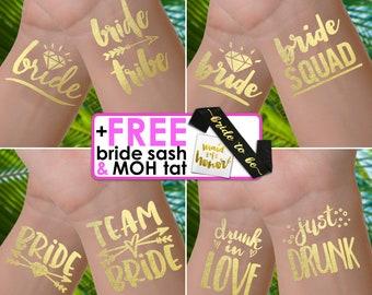 Bachelorette party tattoos | bachelorette tattoos, bride tribe tattoos, bachelorette tattoo, bridesmaid gifts, gold foil tattoos, hen do