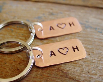 Couple Keychain Set, Matching Set of 2, Personalized Couples Gift, Copper Anniversary, Hand Stamped, Wedding Gift, 7th Anniversary Gift