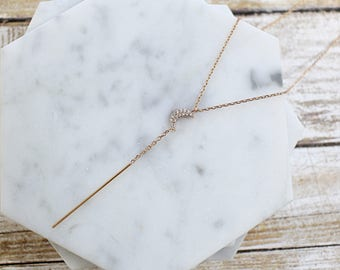 Y Necklace Rose Gold, Rose Gold Crescent Moon Lariat Necklace,Crescent Moon Necklace, Y layering Necklace,Birthday Gift, Bridesmaid Gift,36