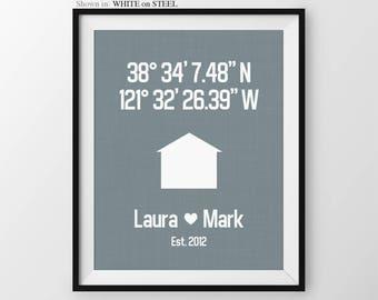 Custom Latitude Longitude Print, Housewarming Gift For Couple, Anniversary print, Couples Gift, Custom Housewarming Decor, Modern Wall Decor