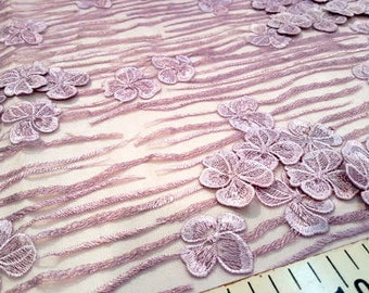 Purple flower embroidered lace fabric #1921