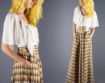 Plaid Maxi Skirt Vintage Multi Color Floor Length Skirt Broomstick Rainbow Plaid