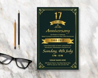 Anniversary Invitation Flyer Template   2 Size 4x6 and 8.5x11 inch   Photoshop & Elements Template, Instant Download
