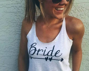 Bride racerback tank - perfect for bachelorette party, bridal shower, or getting ready on the wedding day