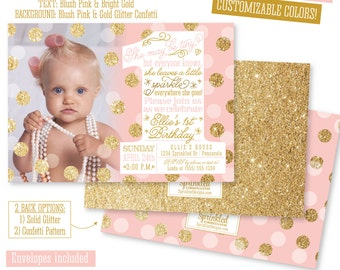 She Leaves A Little Sparkle Invitation - First Birthday Invitation Girl Pink and Gold, BIG ONE, Blush Pink Gold Glitter Birthday Photo Card