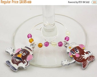 Mr. and Mrs. Potato Head inspired wine glass charms set of 2 Disney charms handmade wine charms party Disney wine charms