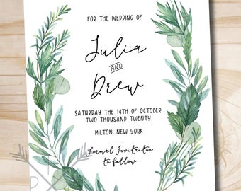 Watercolor Eucalyptus and Herb Wreath Wedding Save The Date, Romantic, Olive Green, Sage, Natural, Herb, Watercolor Wreath, Greenery