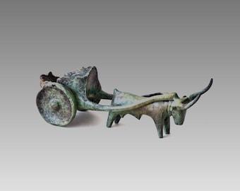 Bronze Ox and Cart Sculpture, Metal Art Sculpture, Museum Quality Art, Collectible Greek Art, Home Decor, Ancient Greece