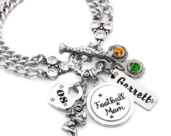 Football Mom Bracelet, Football Mom Gift, Personalized Football Players Name, Custom Player Number, Football Team Colors