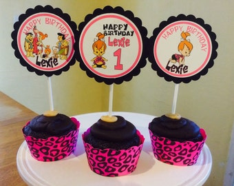 Pebbles Flintstone Hot Pink Cheetah Print Cupcake Toppers An Wrappers