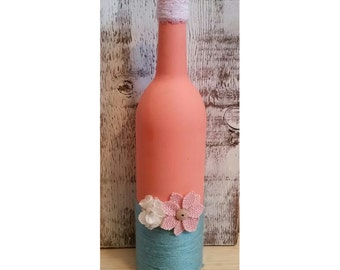 Coral and Teal painted Wine Bottle
