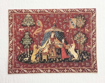 "Miniature Medieval Tapestry Lady and Unicorn  ""A Mon Seul Desir"" (To My Only Desire) in 1:24 or Dollhouse Scales"