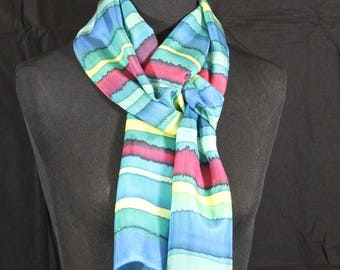 Hand Dyed Silk Scarf Red Blue Yellow Teal Habotai Silk  Hand Painted Silk Scarf