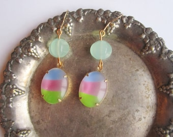 Colorful earrings ./. Summer jewelry . /. Multicolor Dangles ./. Pendants d'Oreilles ./. Glassbead Earrings ./. Pastel Color Earrings