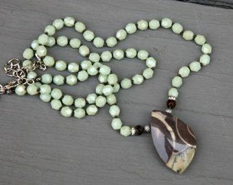 Lemon Jade Mint Freeform Jasper Chocolate Brown Pendant Knotted Boho Style Necklace