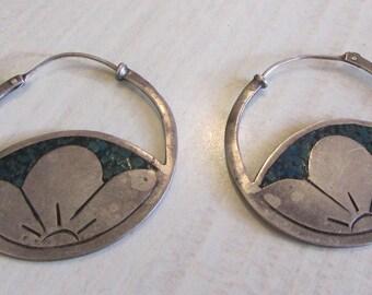 Sterling Silver and Blue Chip Inlay Hoop Earrings