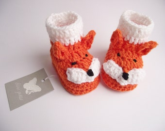 baby fox booties, Crochet Baby Fox Booties,  Baby Fox Booties, Crochet Fox Boots, Crochet Baby Boots, Crochet Baby Shoes