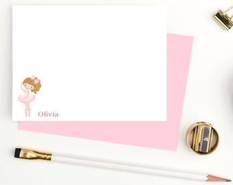 Ballerina personalized stationary set for girls, girls personalized stationery, custom stationery for girls, Note cards for kids, BG108