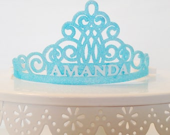 Party Crown with Name - Custom Glittered Tiara - Custom Birthday Crown - Personalized Name Crown - Glittered Tiara - Birthday Name Crown