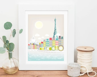 Paris Art Print Paris Skyline Wall Art Prints Poster Seine Bridges Eiffel Tower Illustration Art For Home Nursery Art Print SPPPS1