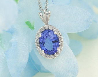 Tanzanite Diamond Necklace.0.14 ct High Quality Diamond & 8x6 mm AAA Natural Tanzanite.Slide Pendant.14k White Gold Necklace.Oval Necklace