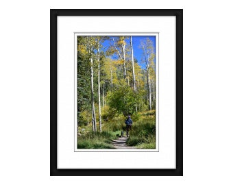 Girl with Dog Aspen Trees color Gold Green Blue Digital Photography Art Print