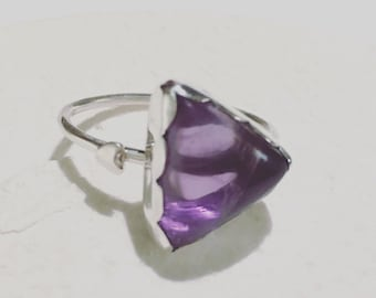 Amethyst Ring Sterling Silver Heart Triangle Unique Piece