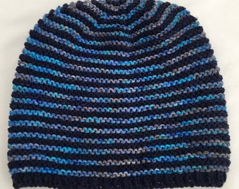 Knit Hat, Blue Stripes, Hand Knit Wool Hat, Soft Wool Hat, Warm Striped Beanie, Blue Beanie, Boyfriend Hat, One of a Kind Gift Free Shipping