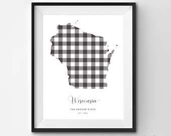Wisconsin Printable | Printable Art | Gingham | WI Print | Wisconsin Art | Wisconsin | State Art Printable | State Poster | Wall Art