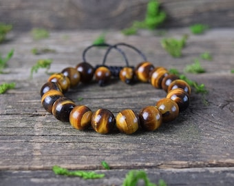 Tiger Eye Bracelet, Adjustable Bracelet, Gemstone Jewerly, Tiger Eye Stone, Healing Crystal, Bohemian Bracelet, Beaded Bracelet, Macrame