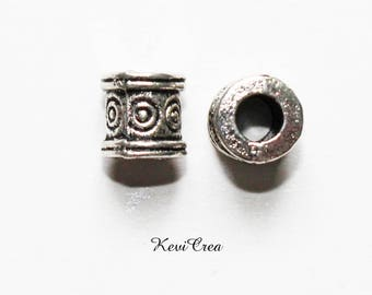 cylinder beads 10 x 6mm silver-plated