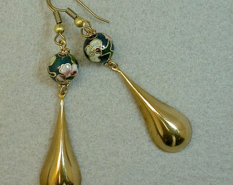 Vintage Chinese TEAL Blue Cloisonne Bead  Dangle Drop Earrings, Vintage Gold Plated Teardrop Dangles -GIFT WRAPPED