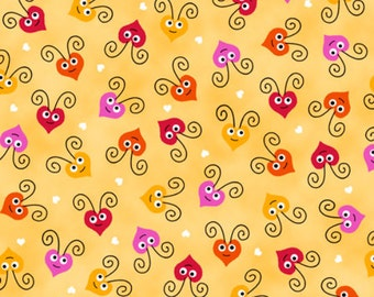 Love Bug Heart Faces Yellow Fabric From Quilting Treasures