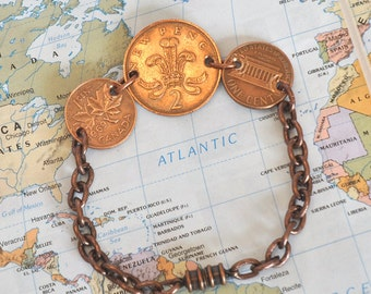 3 Coin Copper Bracelet, World Vintage coins, Canada Penny, UK New Two Penny, USA Penny, Retro Coin Bracelet