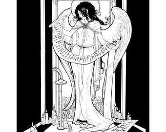 Art Nouveau Angel Scribe with Candles and Scrolls Mucha Inspired Fine Art Print