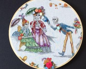 Day of the Dead Hoop Art - Embellished Hoop Art - Day of the Dead Embroidery - Halloween Gift - Dia de los Muertos Gift - Skeleton - Beading