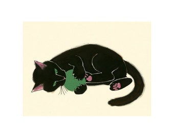 "Black Cat Art print - Black Cat - Claws and Effect - 8.3"" X 5.8"" - 4 for 3 SALE"