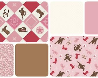 Cowgirl Crib Bedding/ Western Crib Set/ Horse Crib Bedding/ Ruffle Crib Skirt/ Baby Girl Bedding/ Pink Brown Bedding/ Pink Crib Bedding