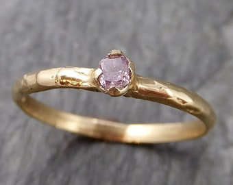 Pink Diamond Solitaire Engagement Dainty Fancy cut 14k yellow Gold Wedding Ring Diamond Ring byAngeline 1102