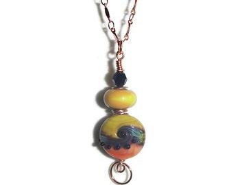 Lampwork and Copper Pendant Lampwork Bead Pendant Copper Chain Colorful Pendant and Chainl N122