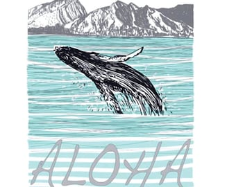 Maui-Whale Breaching - V-neck T-shirt – whale tee, tops, Hawaii, women's t-shirts