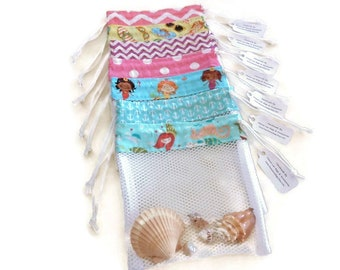 Sea Shell Collecting Bags, Mesh Beach Comber Bag, Shell Collector Drawstring Bag, Mermaid or Beach Party, Gift for Girls, Boys, Women