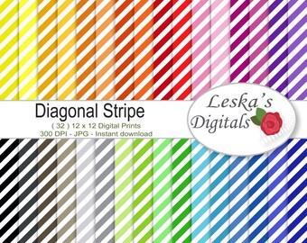 """Diagonal stripe digital paper pack: """"Diagonal Stripes"""" scrapbook paper, 32 colors digital download, stripe digital paper"""