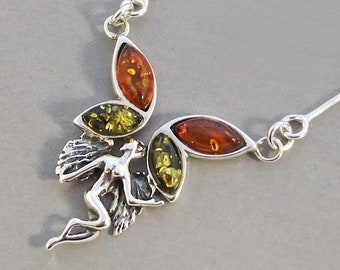 Genuine  Baltic amber sterling silver necklace.
