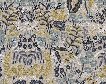 Tapestry Natural Metallic CANVAS from Menagerie by Anna Bond of Rifle Paper Co for Cotton + Steel - 1/2 Yard