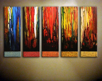 """Large Abstract Painting, Colorful Painting, Original Textured Artwork, Acrylic Painting, Multi-Panel Art, Oversized Wall Art 60"""" by Nata S"""