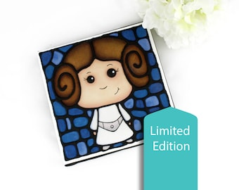 Princess Leia Canvas Print- Limited Edition - Hand Painted Outlines -  Nursery Decor - Starwars Wall Art - Sci-Fi Artwork - Cute Leia Print