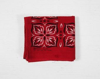 Vintage 60s Washfast Red Bandana Turkey Red Squares Handkerchief All Cotton