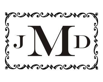 Vintage Scroll Frame with Monogram Initials Vinyl Wall Decal (M-008)